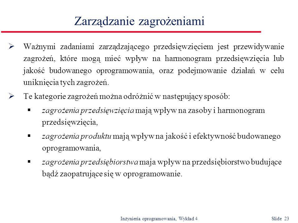 Inżynieria oprogramowania, Wykład 4 Slide 23 Zarządzanie zagrożeniami Ważnymi zadaniami zarządzającego przedsięwzięciem jest przewidywanie zagrożeń, k