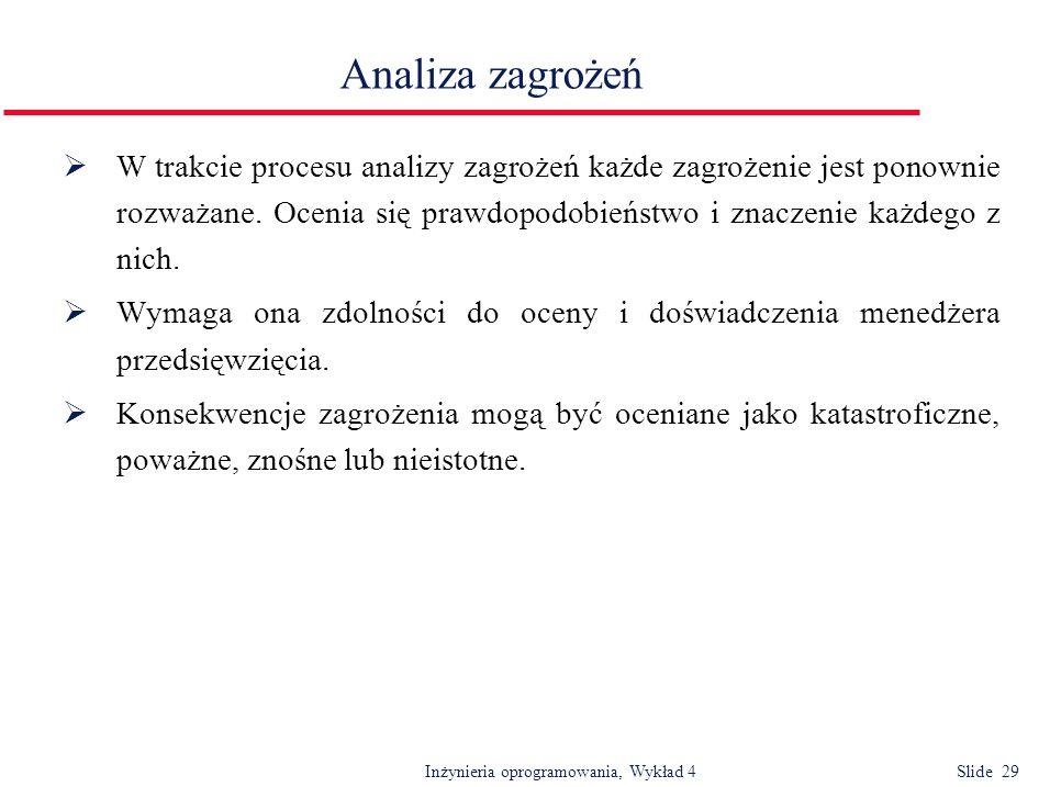 Inżynieria oprogramowania, Wykład 4 Slide 29 Analiza zagrożeń W trakcie procesu analizy zagrożeń każde zagrożenie jest ponownie rozważane. Ocenia się