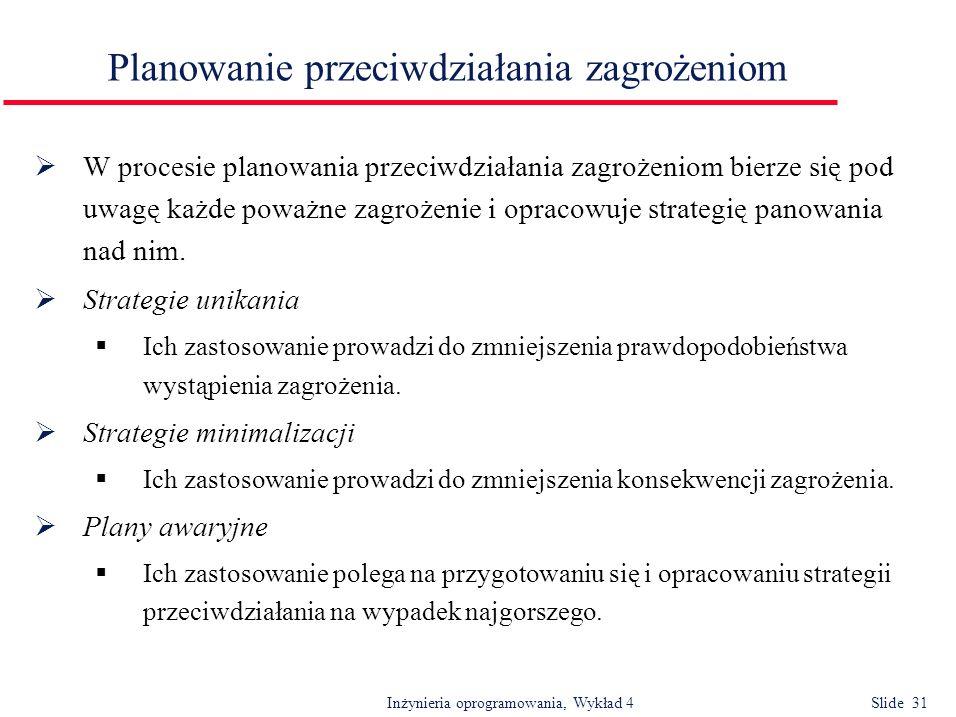 Inżynieria oprogramowania, Wykład 4 Slide 31 Planowanie przeciwdziałania zagrożeniom W procesie planowania przeciwdziałania zagrożeniom bierze się pod