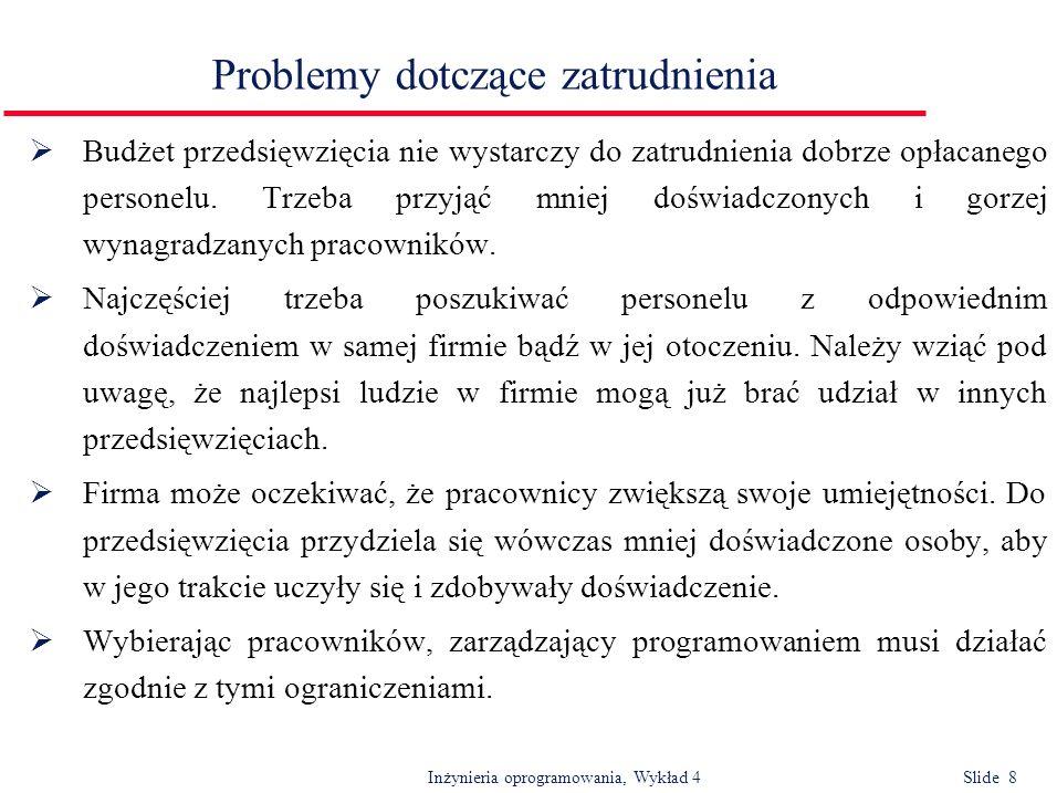 Inżynieria oprogramowania, Wykład 4 Slide 8 Problemy dotczące zatrudnienia Budżet przedsięwzięcia nie wystarczy do zatrudnienia dobrze opłacanego pers