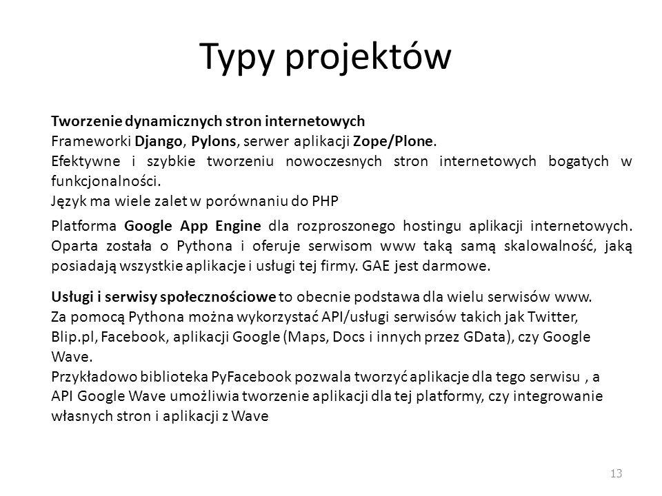 Typy projektów 13 Tworzenie dynamicznych stron internetowych Frameworki Django, Pylons, serwer aplikacji Zope/Plone. Efektywne i szybkie tworzeniu now