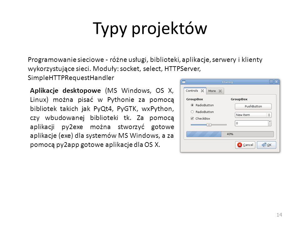 Typy projektów 14 Programowanie sieciowe - różne usługi, biblioteki, aplikacje, serwery i klienty wykorzystujące sieci. Moduły: socket, select, HTTPSe
