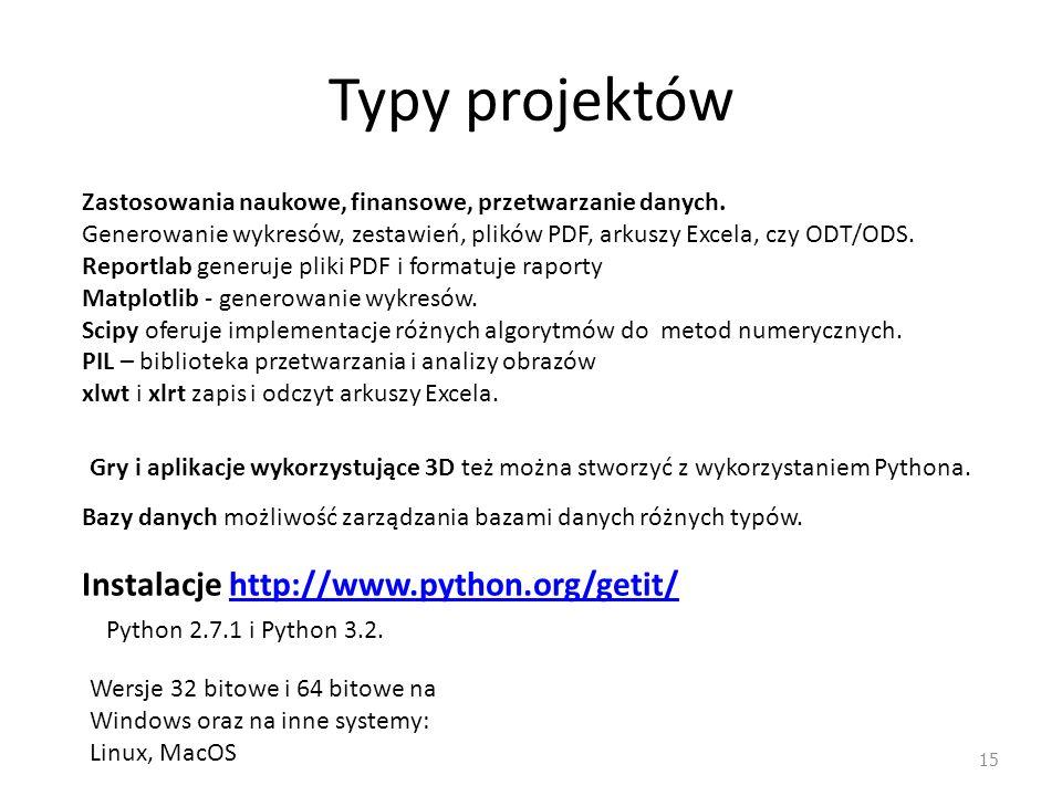 Typy projektów 15 Zastosowania naukowe, finansowe, przetwarzanie danych. Generowanie wykresów, zestawień, plików PDF, arkuszy Excela, czy ODT/ODS. Rep