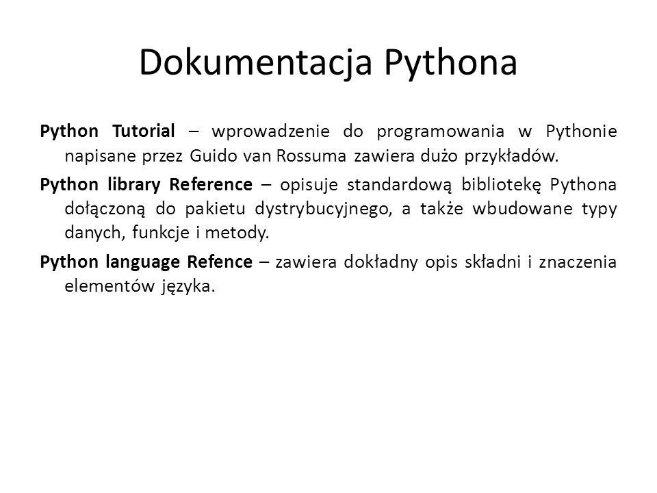 Dokumentacja Pythona Python Tutorial – wprowadzenie do programowania w Pythonie napisane przez Guido van Rossuma zawiera dużo przykładów. Python libra