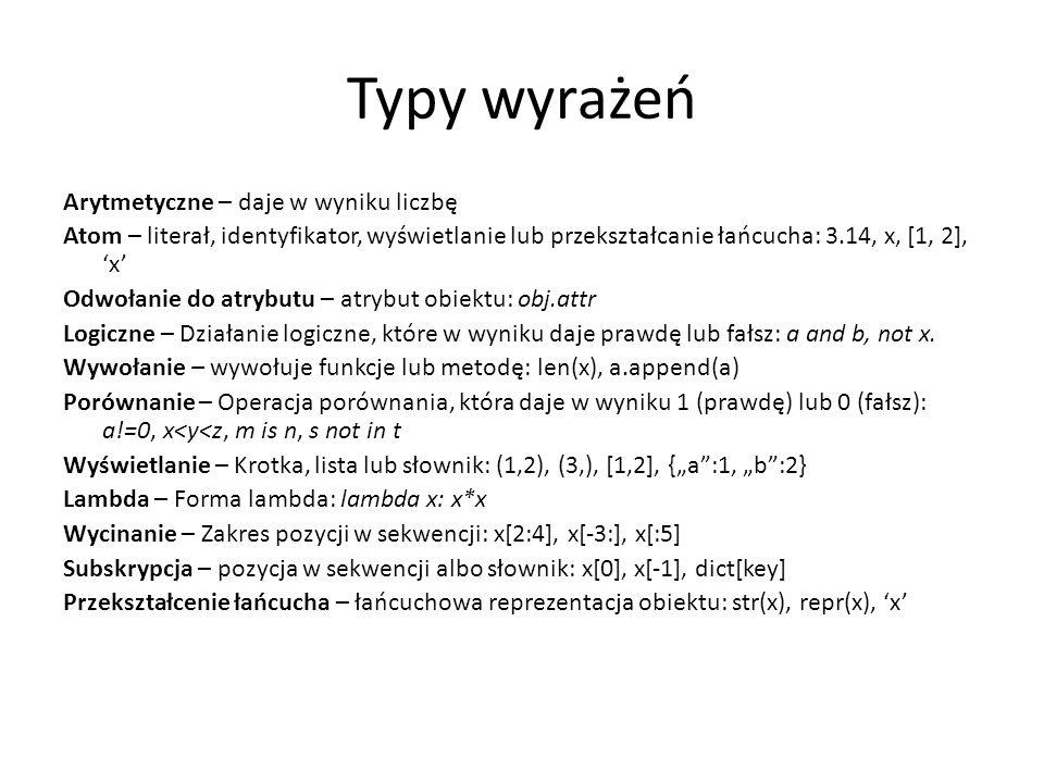 Typy wyrażeń Arytmetyczne – daje w wyniku liczbę Atom – literał, identyfikator, wyświetlanie lub przekształcanie łańcucha: 3.14, x, [1, 2], x Odwołani