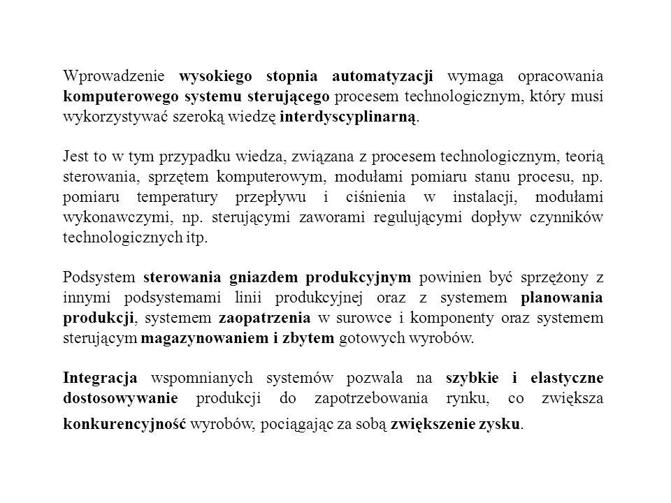 Wprowadzenie wysokiego stopnia automatyzacji wymaga opracowania komputerowego systemu sterującego procesem technologicznym, który musi wykorzystywać s