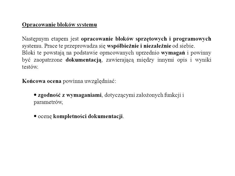 Opracowanie bloków systemu Następnym etapem jest opracowanie bloków sprzętowych i programowych systemu. Prace te przeprowadza się współbieżnie i nieza