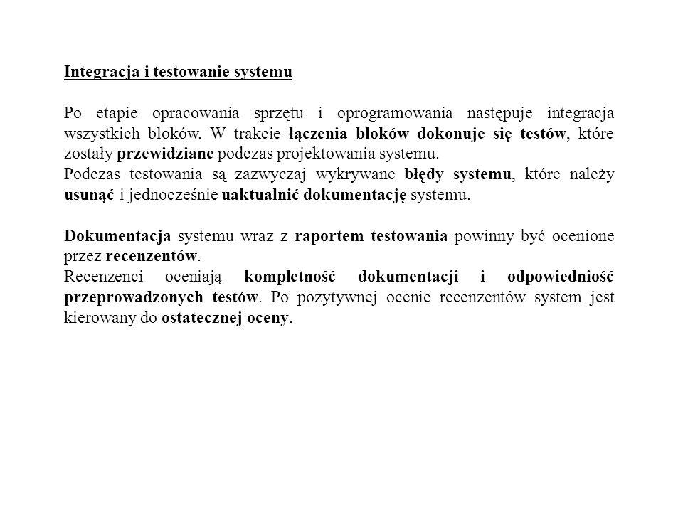 Integracja i testowanie systemu Po etapie opracowania sprzętu i oprogramowania następuje integracja wszystkich bloków. W trakcie łączenia bloków dokon