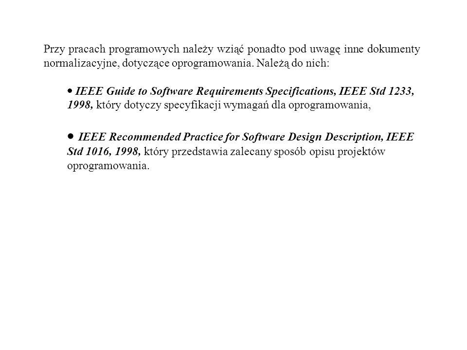 Przy pracach programowych należy wziąć ponadto pod uwagę inne dokumenty normalizacyjne, dotyczące oprogramowania. Należą do nich: IEEE Guide to Softwa