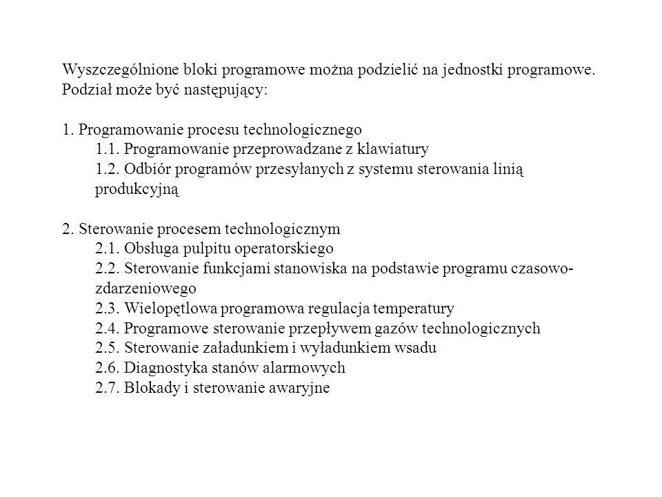 Wyszczególnione bloki programowe można podzielić na jednostki programowe. Podział może być następujący: 1. Programowanie procesu technologicznego 1.1.