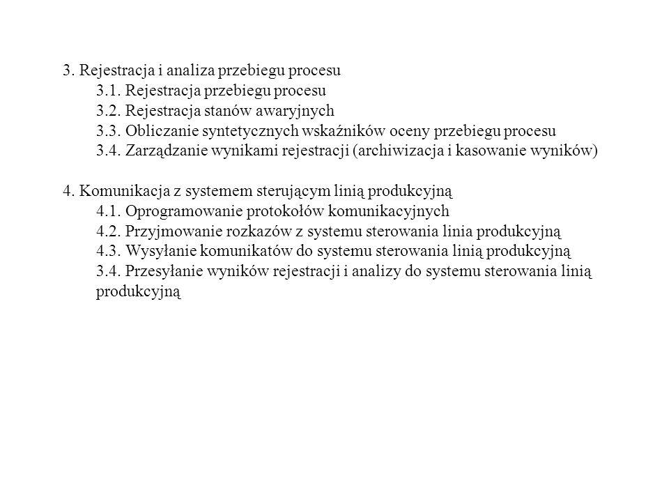 3. Rejestracja i analiza przebiegu procesu 3.1. Rejestracja przebiegu procesu 3.2. Rejestracja stanów awaryjnych 3.3. Obliczanie syntetycznych wskaźni