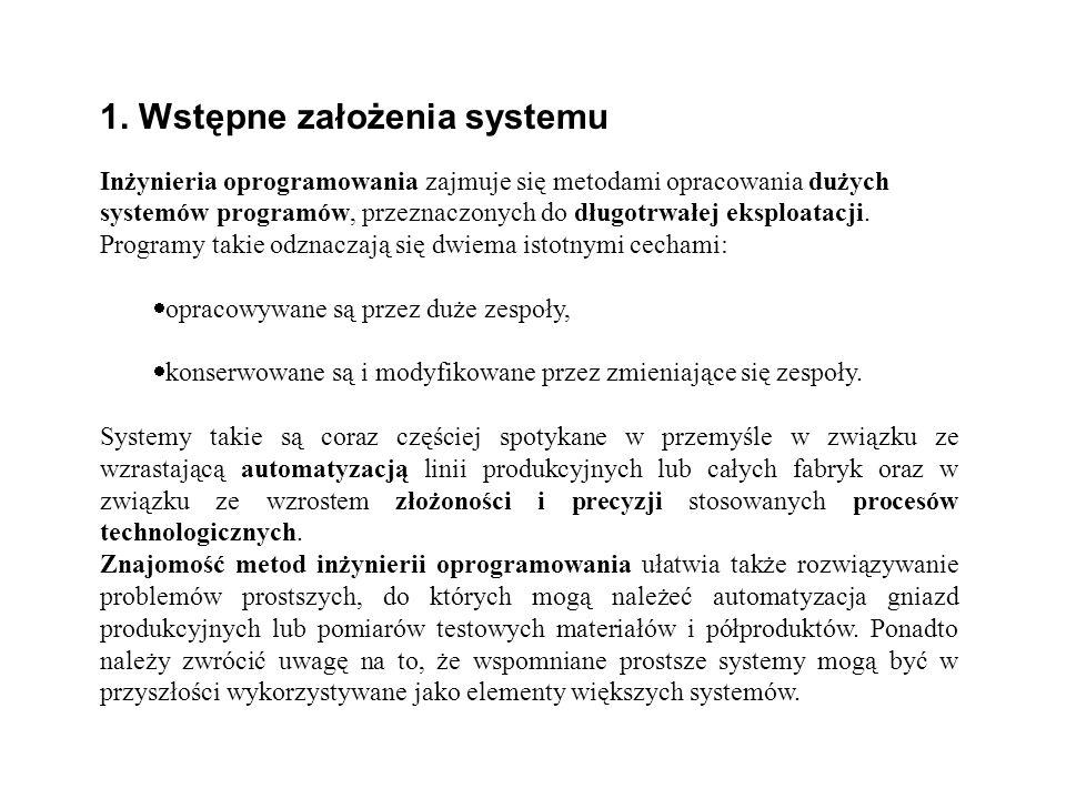 1. Wstępne założenia systemu Inżynieria oprogramowania zajmuje się metodami opracowania dużych systemów programów, przeznaczonych do długotrwałej eksp
