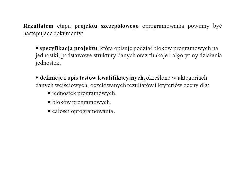 Rezultatem etapu projektu szczegółowego oprogramowania powinny być następujące dokumenty: specyfikacja projektu, która opisuje podział bloków programo