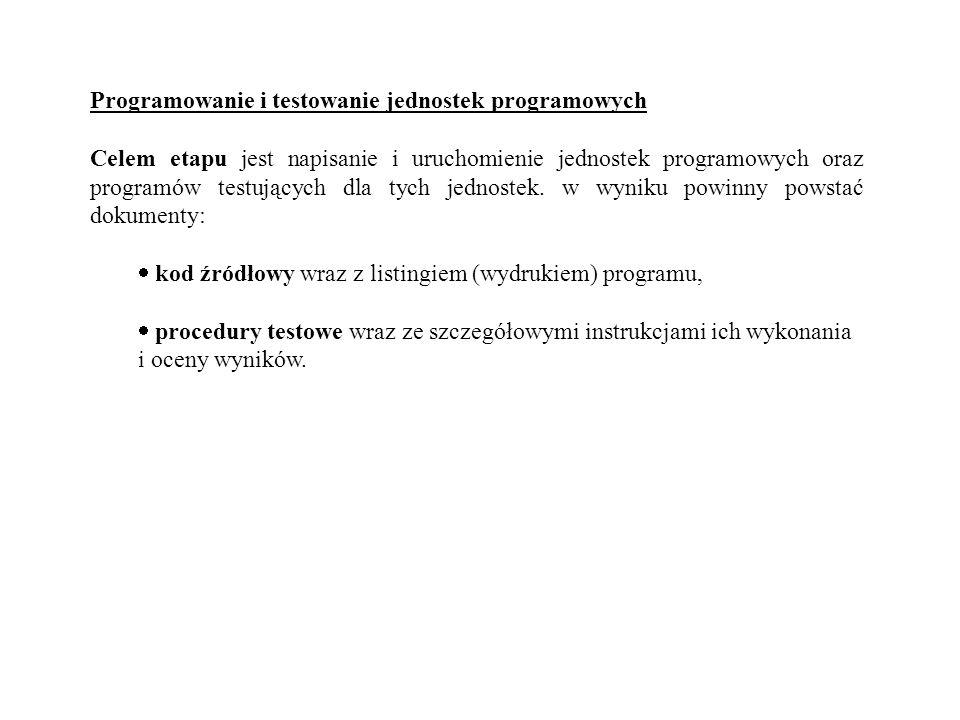 Programowanie i testowanie jednostek programowych Celem etapu jest napisanie i uruchomienie jednostek programowych oraz programów testujących dla tych