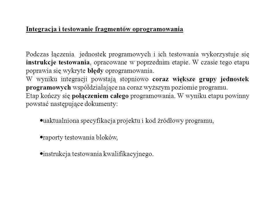 Integracja i testowanie fragmentów oprogramowania Podczas łączenia jednostek programowych i ich testowania wykorzystuje się instrukcje testowania, opr