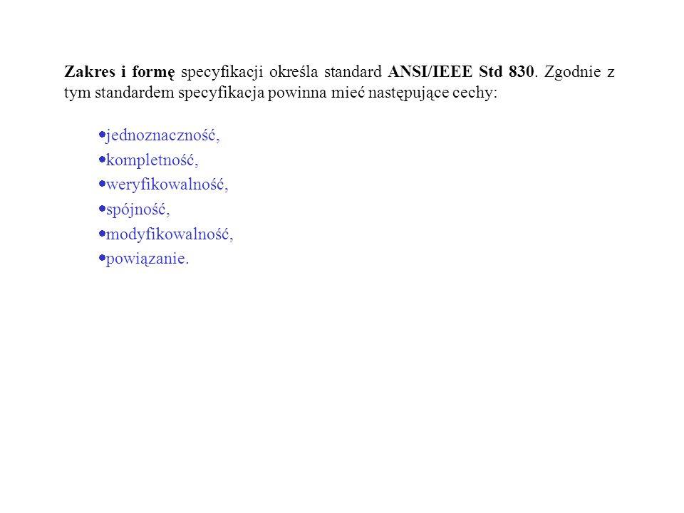 Zakres i formę specyfikacji określa standard ANSI/IEEE Std 830. Zgodnie z tym standardem specyfikacja powinna mieć następujące cechy: jednoznaczność,