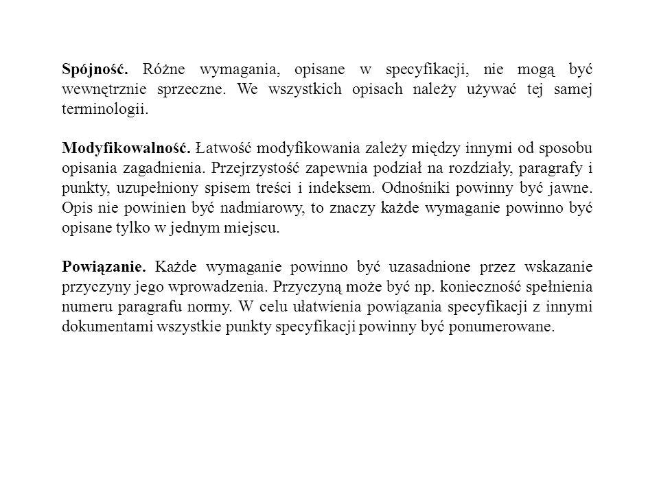 Spójność. Różne wymagania, opisane w specyfikacji, nie mogą być wewnętrznie sprzeczne. We wszystkich opisach należy używać tej samej terminologii. Mod