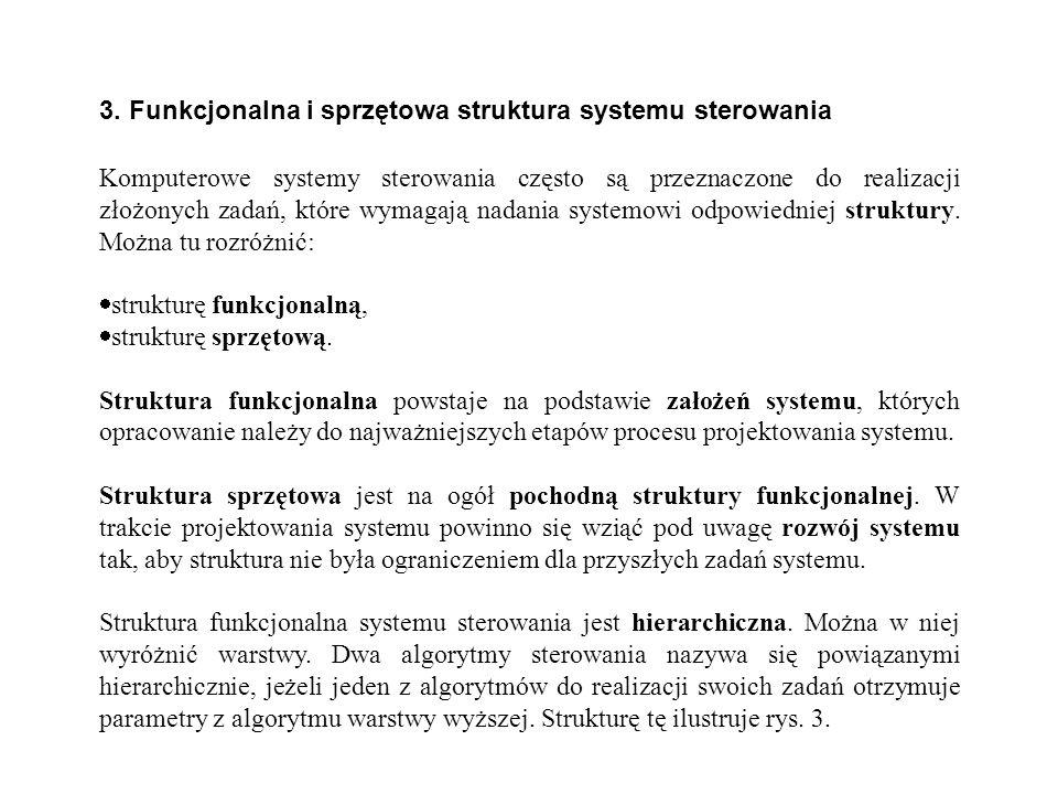 3. Funkcjonalna i sprzętowa struktura systemu sterowania Komputerowe systemy sterowania często są przeznaczone do realizacji złożonych zadań, które wy