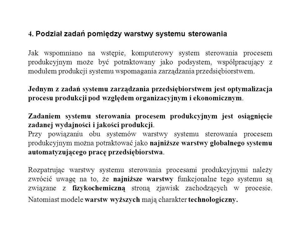 4. Podział zadań pomiędzy warstwy systemu sterowania Jak wspomniano na wstępie, komputerowy system sterowania procesem produkcyjnym może być potraktow