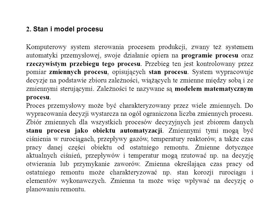 2. Stan i model procesu Komputerowy system sterowania procesem produkcji, zwany też systemem automatyki przemysłowej, swoje działanie opiera na progra