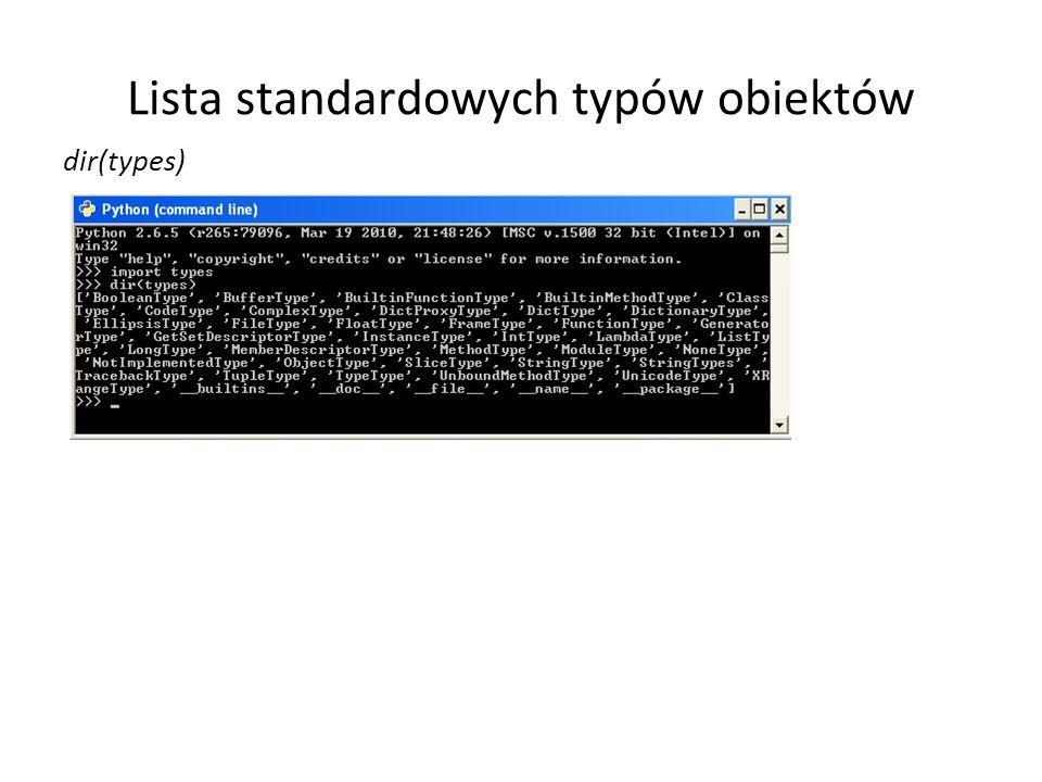 Lista standardowych typów obiektów dir(types)