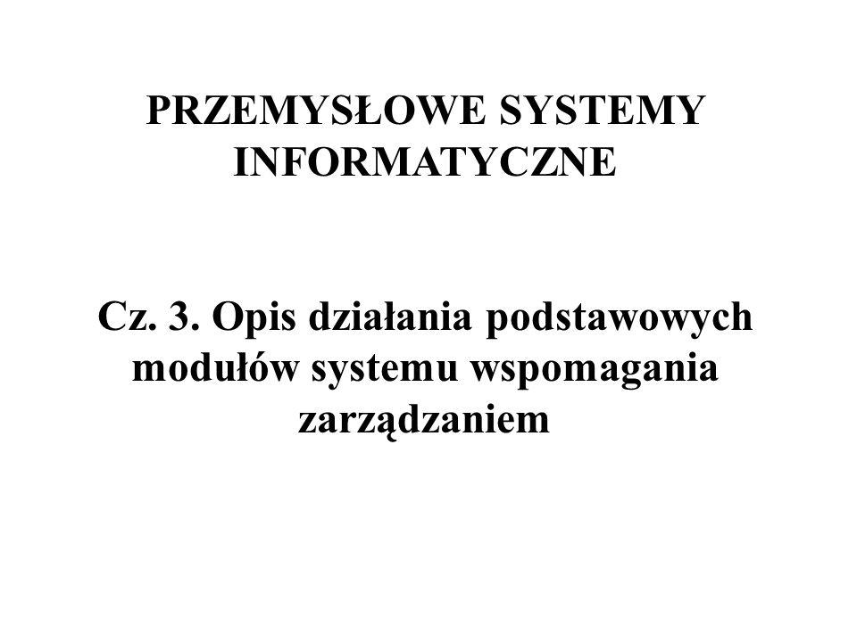PRZEMYSŁOWE SYSTEMY INFORMATYCZNE Cz. 3. Opis działania podstawowych modułów systemu wspomagania zarządzaniem