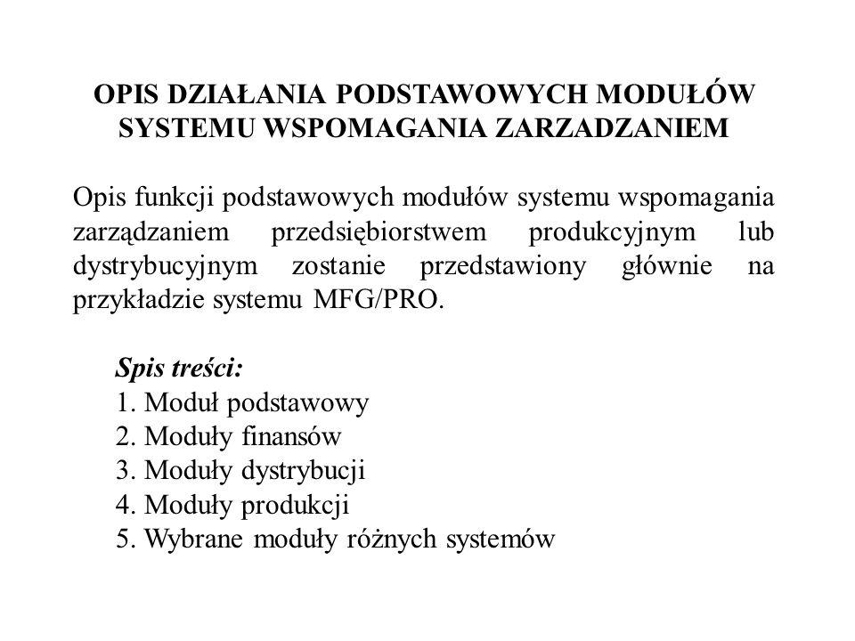 OPIS DZIAŁANIA PODSTAWOWYCH MODUŁÓW SYSTEMU WSPOMAGANIA ZARZADZANIEM Opis funkcji podstawowych modułów systemu wspomagania zarządzaniem przedsiębiorst