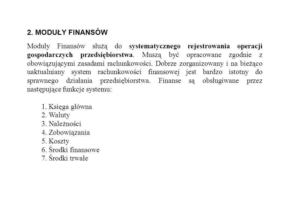 2. MODUŁY FINANSÓW Moduły Finansów służą do systematycznego rejestrowania operacji gospodarczych przedsiębiorstwa. Muszą być opracowane zgodnie z obow