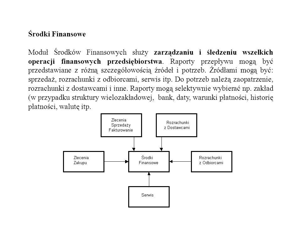 Środki Finansowe Moduł Środków Finansowych służy zarządzaniu i śledzeniu wszelkich operacji finansowych przedsiębiorstwa. Raporty przepływu mogą być p