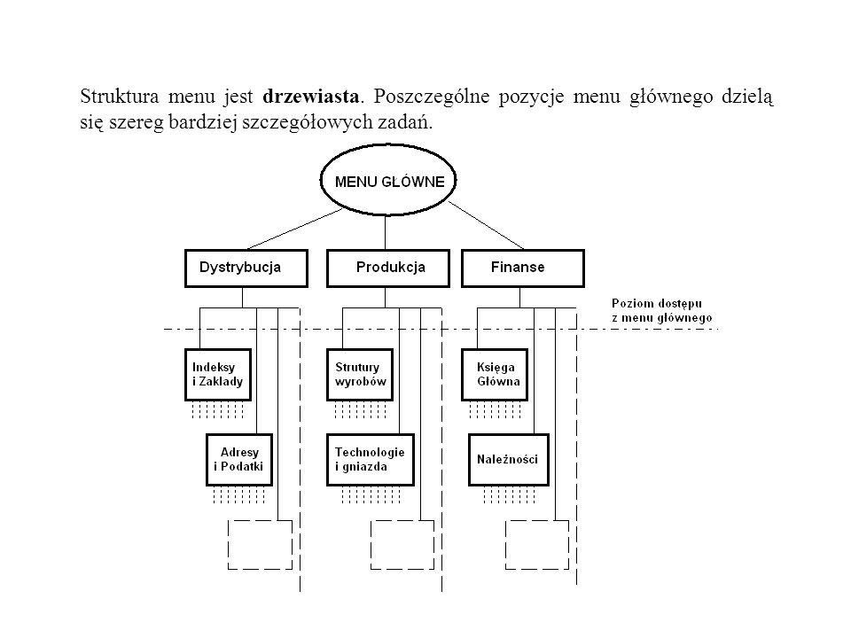 Struktura menu jest drzewiasta. Poszczególne pozycje menu głównego dzielą się szereg bardziej szczegółowych zadań.