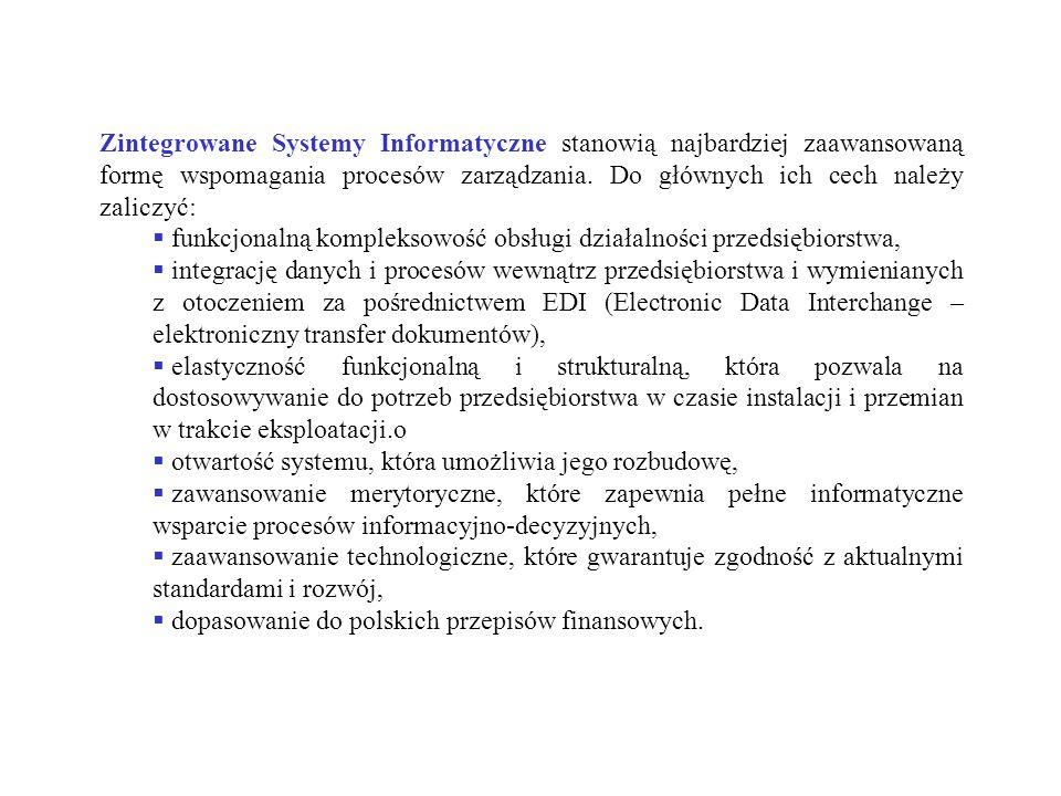 Zintegrowane Systemy Informatyczne stanowią najbardziej zaawansowaną formę wspomagania procesów zarządzania. Do głównych ich cech należy zaliczyć: fun