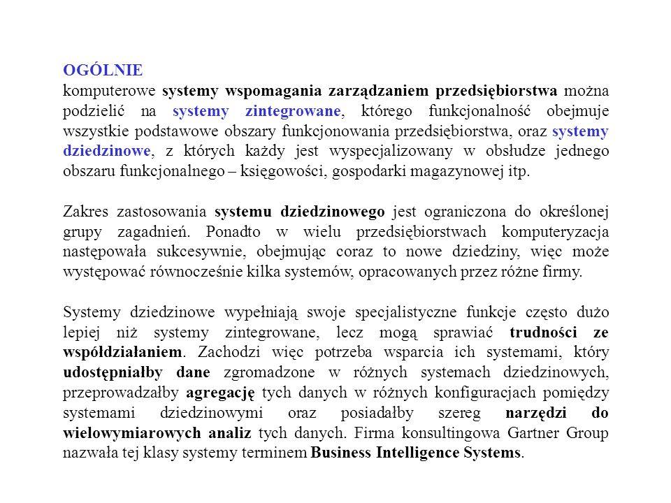 OGÓLNIE komputerowe systemy wspomagania zarządzaniem przedsiębiorstwa można podzielić na systemy zintegrowane, którego funkcjonalność obejmuje wszystk