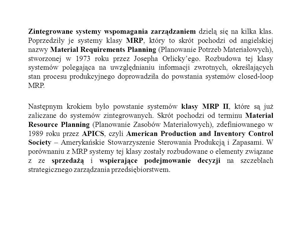 Zintegrowane systemy wspomagania zarządzaniem dzielą się na kilka klas. Poprzedziły je systemy klasy MRP, który to skrót pochodzi od angielskiej nazwy