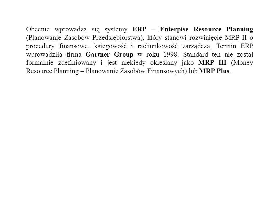 Obecnie wprowadza się systemy ERP – Enterpise Resource Planning (Planowanie Zasobów Przedsiębiorstwa), który stanowi rozwinięcie MRP II o procedury fi