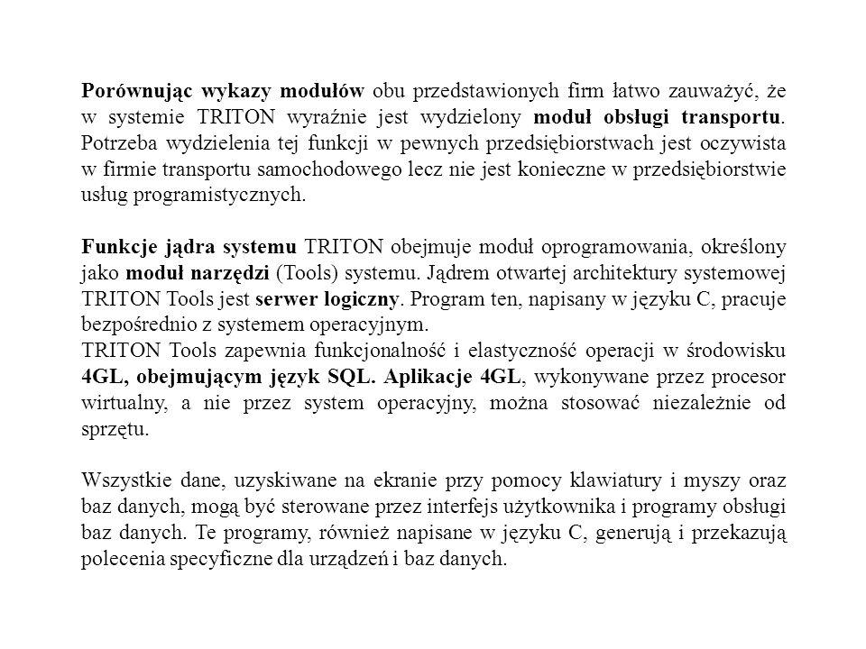 Porównując wykazy modułów obu przedstawionych firm łatwo zauważyć, że w systemie TRITON wyraźnie jest wydzielony moduł obsługi transportu. Potrzeba wy