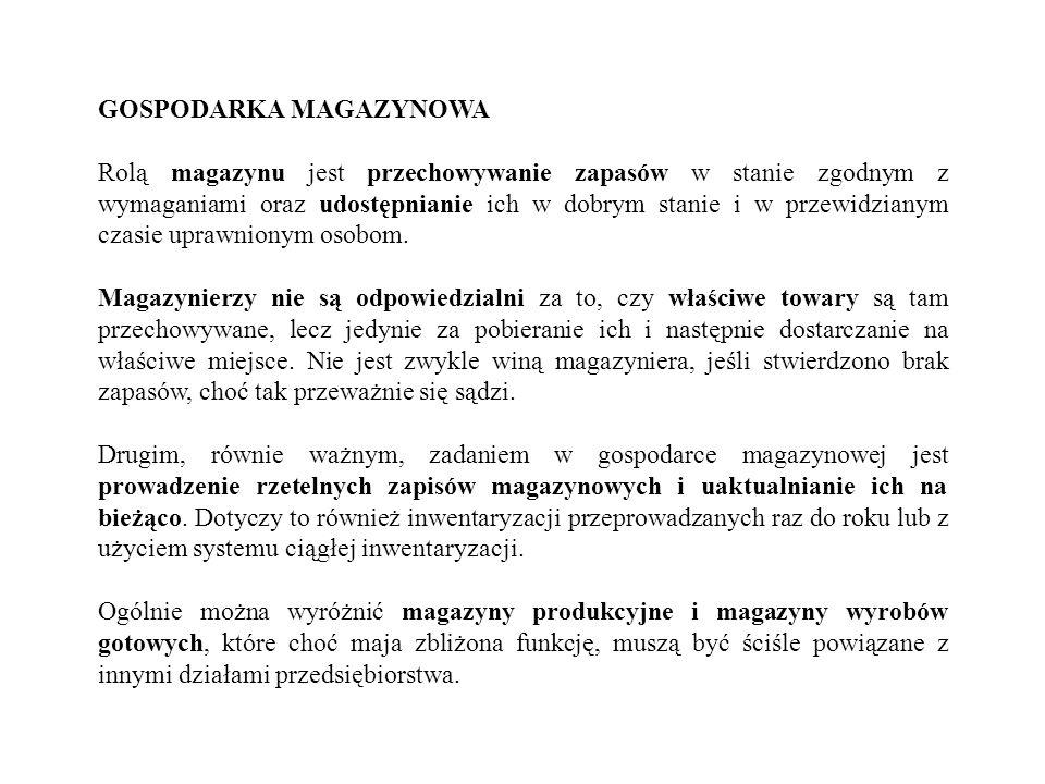 GOSPODARKA MAGAZYNOWA Rolą magazynu jest przechowywanie zapasów w stanie zgodnym z wymaganiami oraz udostępnianie ich w dobrym stanie i w przewidziany