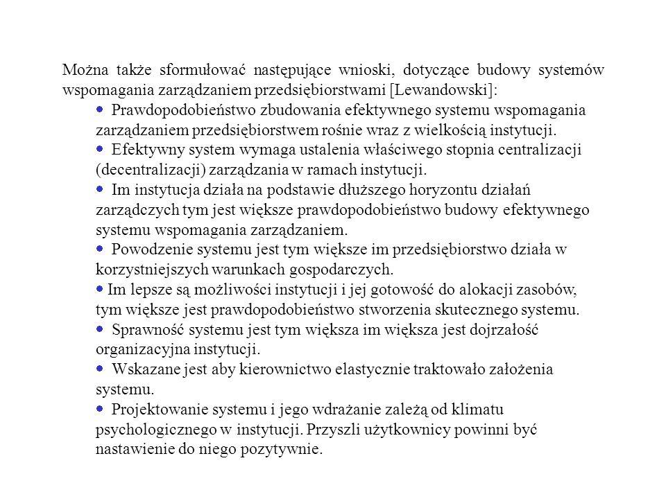 Można także sformułować następujące wnioski, dotyczące budowy systemów wspomagania zarządzaniem przedsiębiorstwami [Lewandowski]: Prawdopodobieństwo z