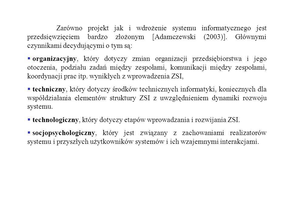 Zarówno projekt jak i wdrożenie systemu informatycznego jest przedsięwzięciem bardzo złożonym [Adamczewski (2003)]. Głównymi czynnikami decydującymi o