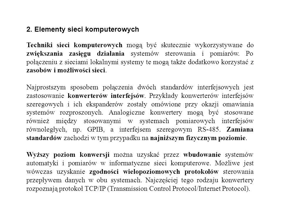2. Elementy sieci komputerowych Techniki sieci komputerowych mogą być skutecznie wykorzystywane do zwiększania zasięgu działania systemów sterowania i