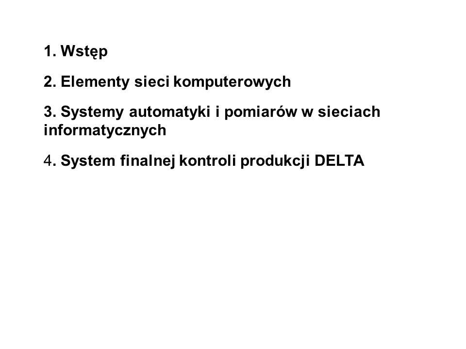 1. Wstęp 2. Elementy sieci komputerowych 3. Systemy automatyki i pomiarów w sieciach informatycznych 4. System finalnej kontroli produkcji DELTA