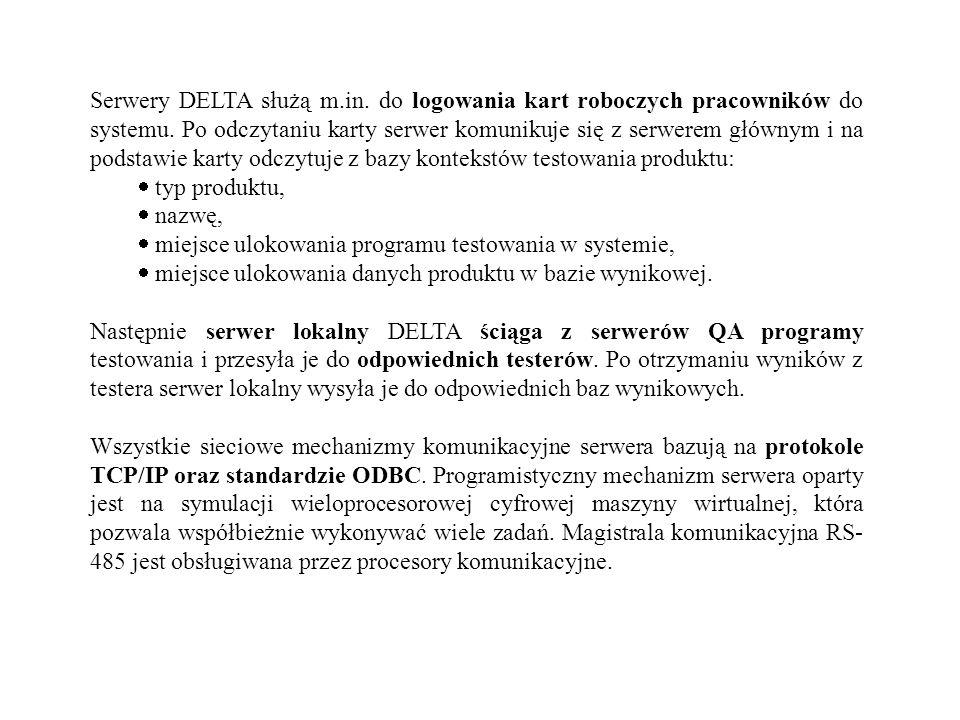 Serwery DELTA służą m.in. do logowania kart roboczych pracowników do systemu. Po odczytaniu karty serwer komunikuje się z serwerem głównym i na podsta