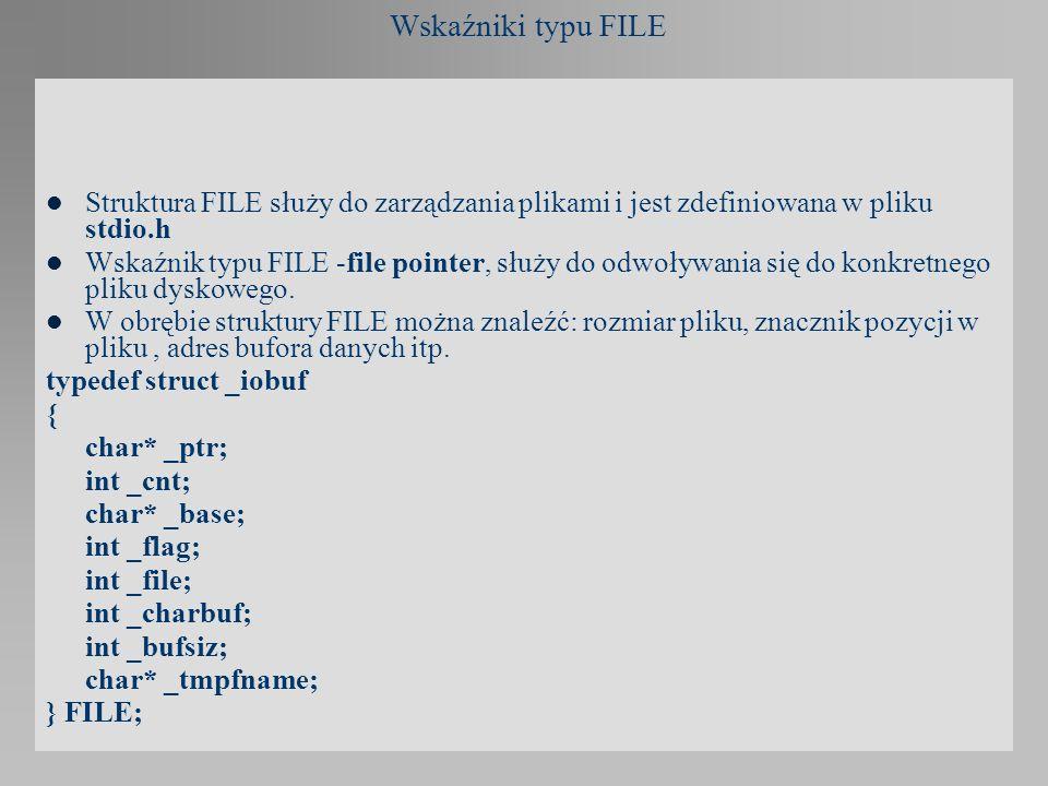Wskaźniki typu FILE Struktura FILE służy do zarządzania plikami i jest zdefiniowana w pliku stdio.h Wskaźnik typu FILE -file pointer, służy do odwoływ
