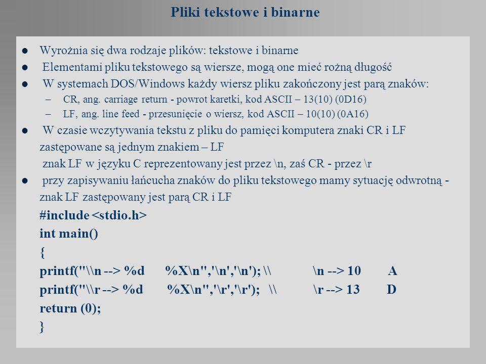 Funkcje fgetc, fputc, fgets, fputs Odczyt znaku ze strumienia: int fgetc(FILE* stream); Fgetc czyta znak ze strumienia stream jako unsigned char i przekształca do int.