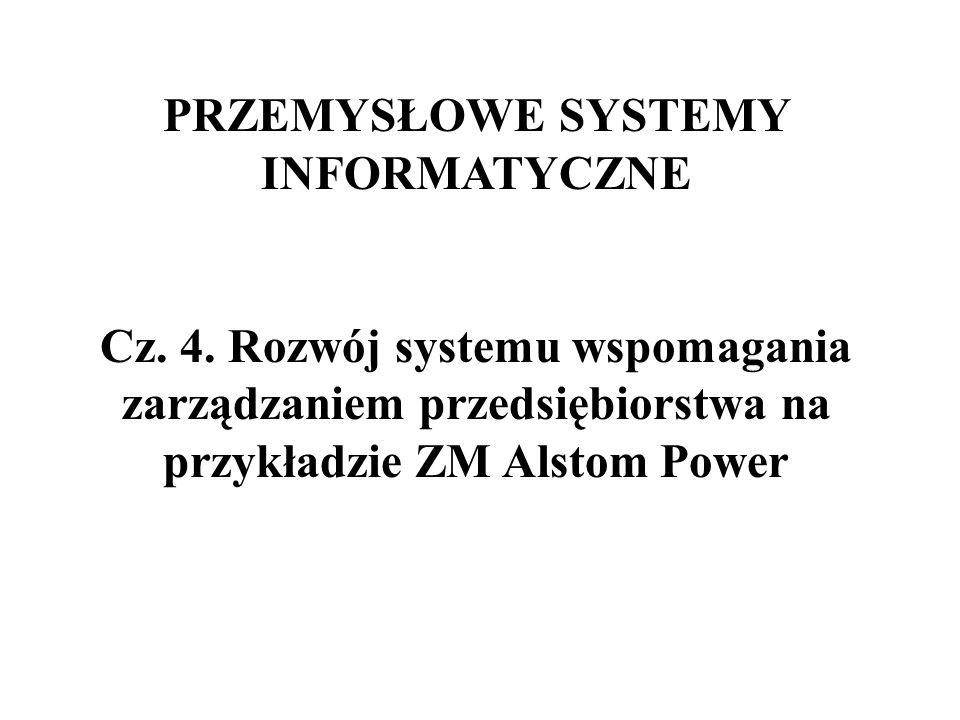 PRZEMYSŁOWE SYSTEMY INFORMATYCZNE Cz. 4. Rozwój systemu wspomagania zarządzaniem przedsiębiorstwa na przykładzie ZM Alstom Power