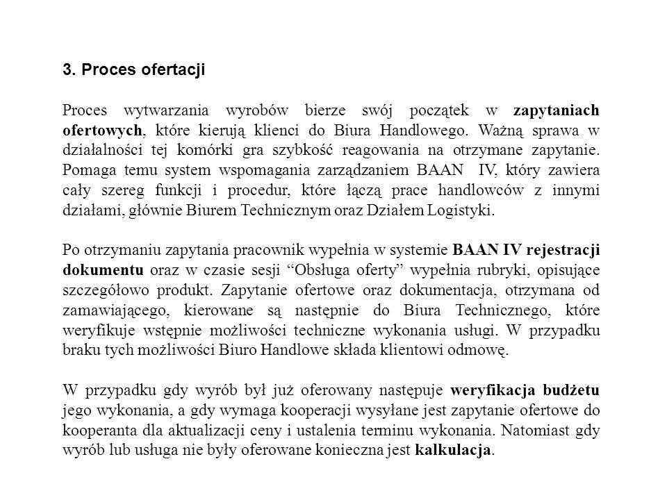 3. Proces ofertacji Proces wytwarzania wyrobów bierze swój początek w zapytaniach ofertowych, które kierują klienci do Biura Handlowego. Ważną sprawa