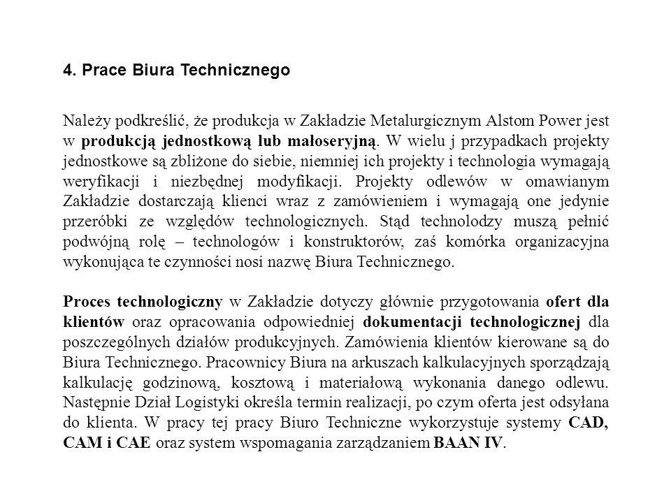 4. Prace Biura Technicznego Należy podkreślić, że produkcja w Zakładzie Metalurgicznym Alstom Power jest w produkcją jednostkową lub małoseryjną. W wi