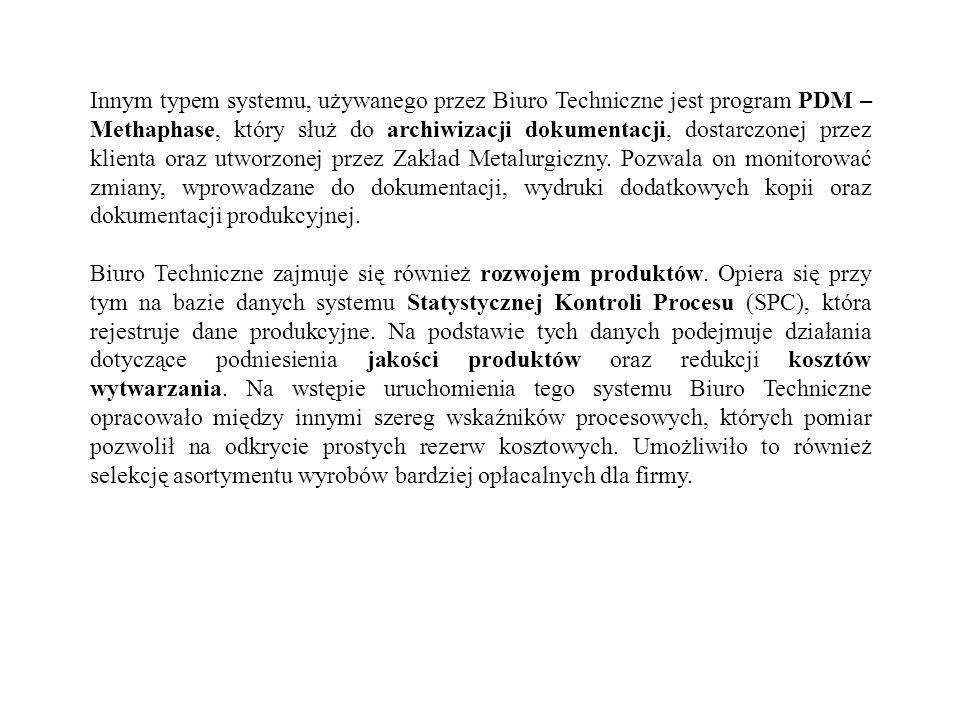 Innym typem systemu, używanego przez Biuro Techniczne jest program PDM – Methaphase, który służ do archiwizacji dokumentacji, dostarczonej przez klien