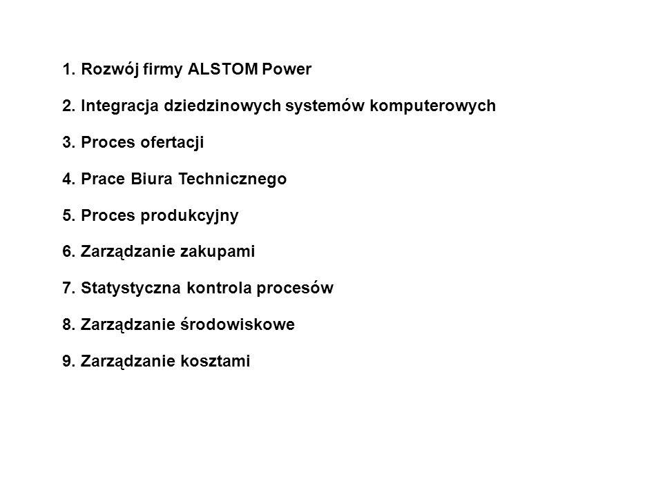 1. Rozwój firmy ALSTOM Power 2. Integracja dziedzinowych systemów komputerowych 3. Proces ofertacji 4. Prace Biura Technicznego 5. Proces produkcyjny