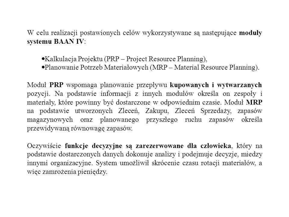 W celu realizacji postawionych celów wykorzystywane są następujące moduły systemu BAAN IV: Kalkulacja Projektu (PRP – Project Resource Planning), Plan