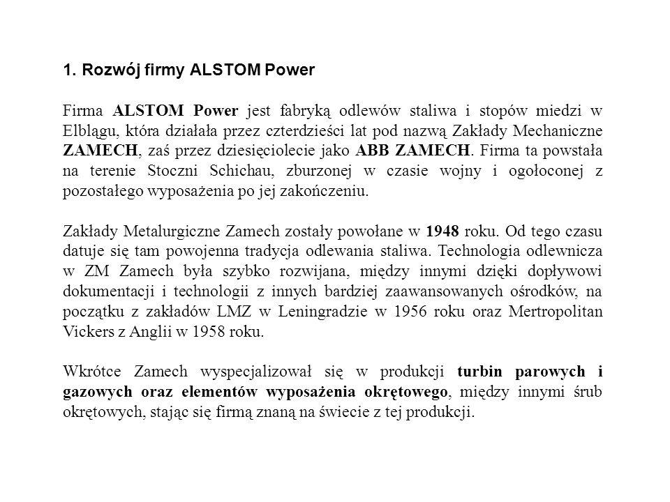 1. Rozwój firmy ALSTOM Power Firma ALSTOM Power jest fabryką odlewów staliwa i stopów miedzi w Elblągu, która działała przez czterdzieści lat pod nazw